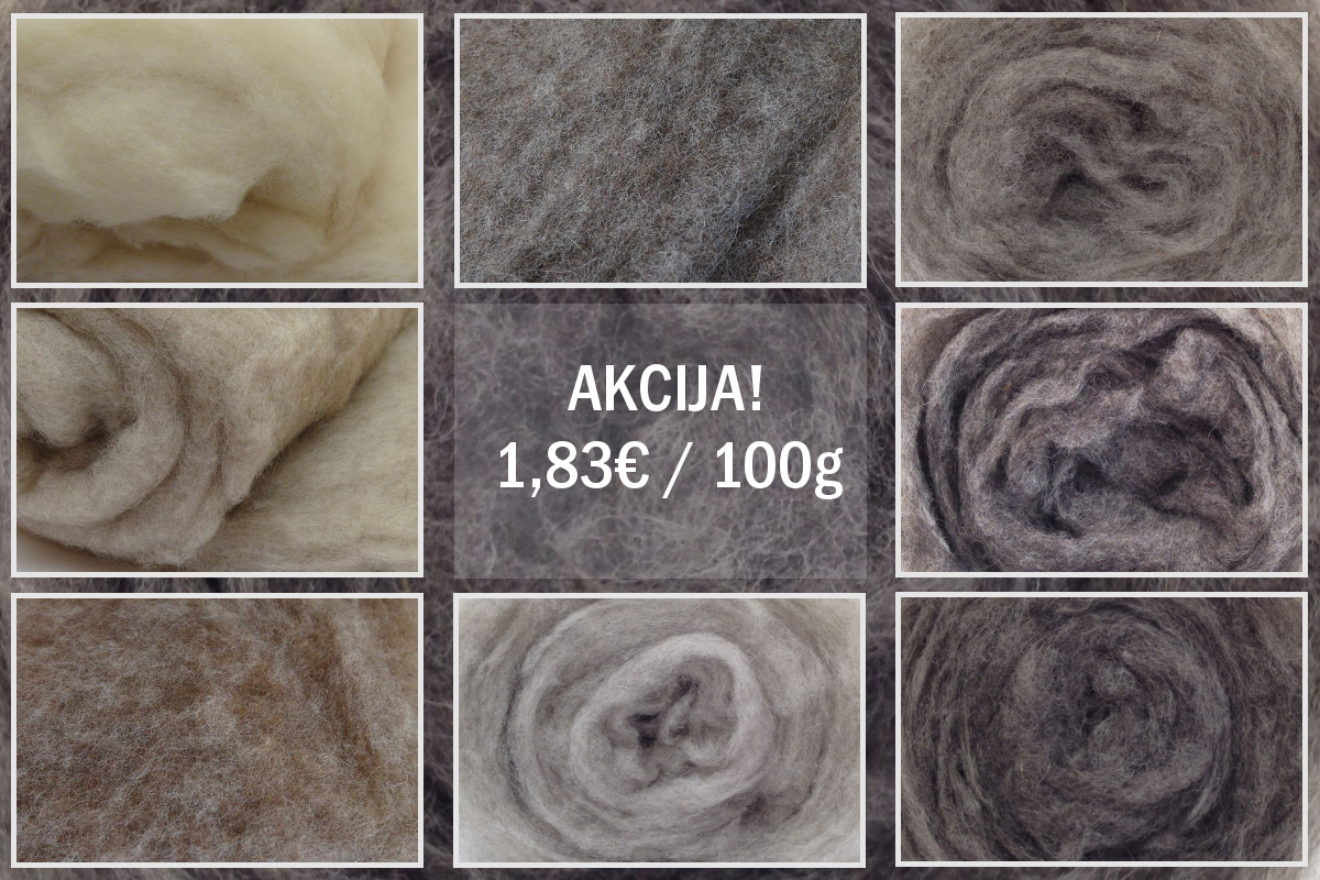 On Sale! Eight  colors of natural Tyrolean carded wool - 1,83€/100g